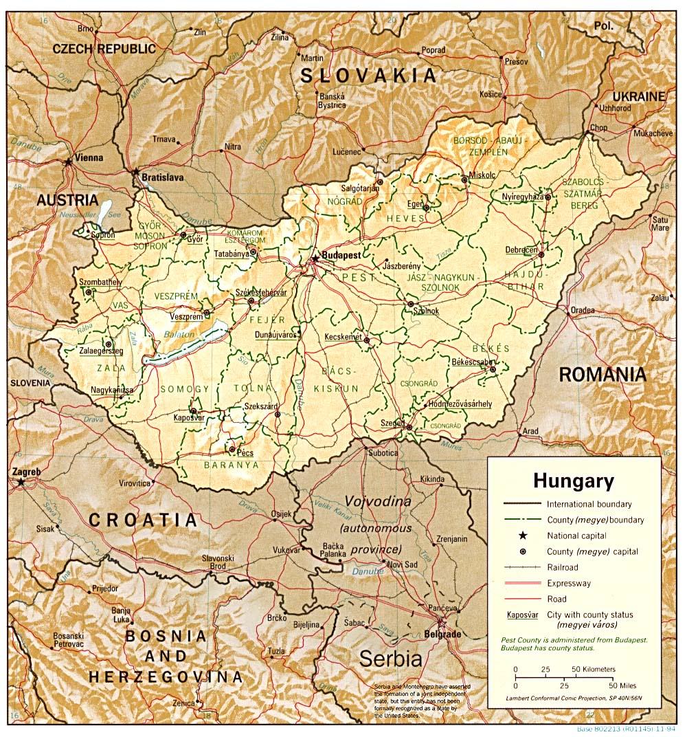 Mapa de Relieve Sombreado de Hungría