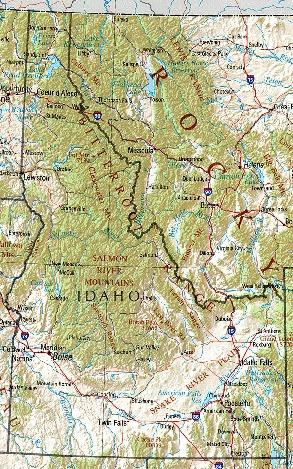 Mapa de Relieve Sombreado de Idaho, Estados Unidos