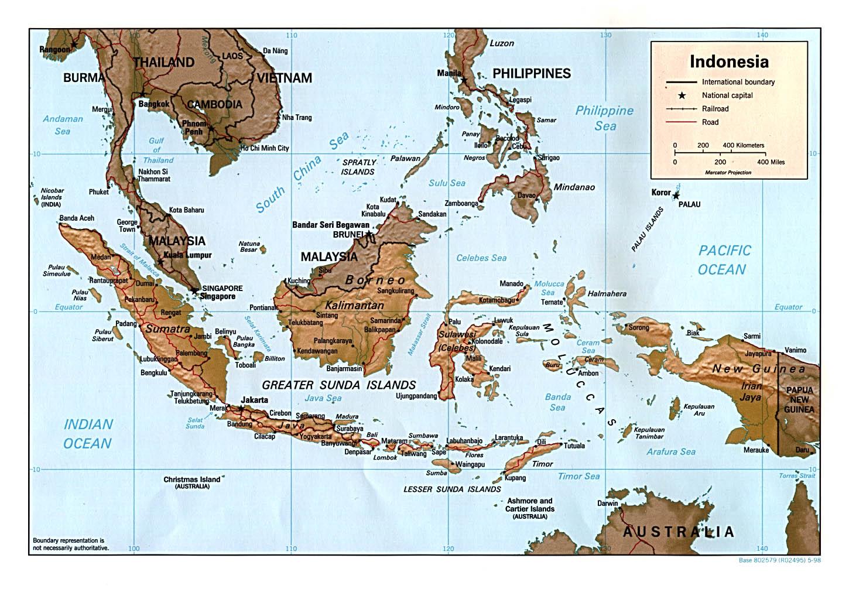 Mapa de Relieve Sombreado de Indonesia