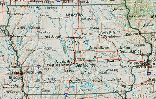 Iowa Shaded Relief Map, United States