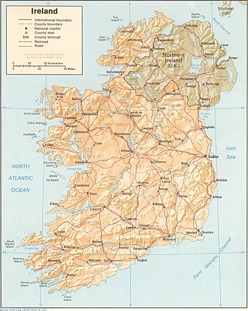 Mapa de Relieve Sombreado de Irlanda