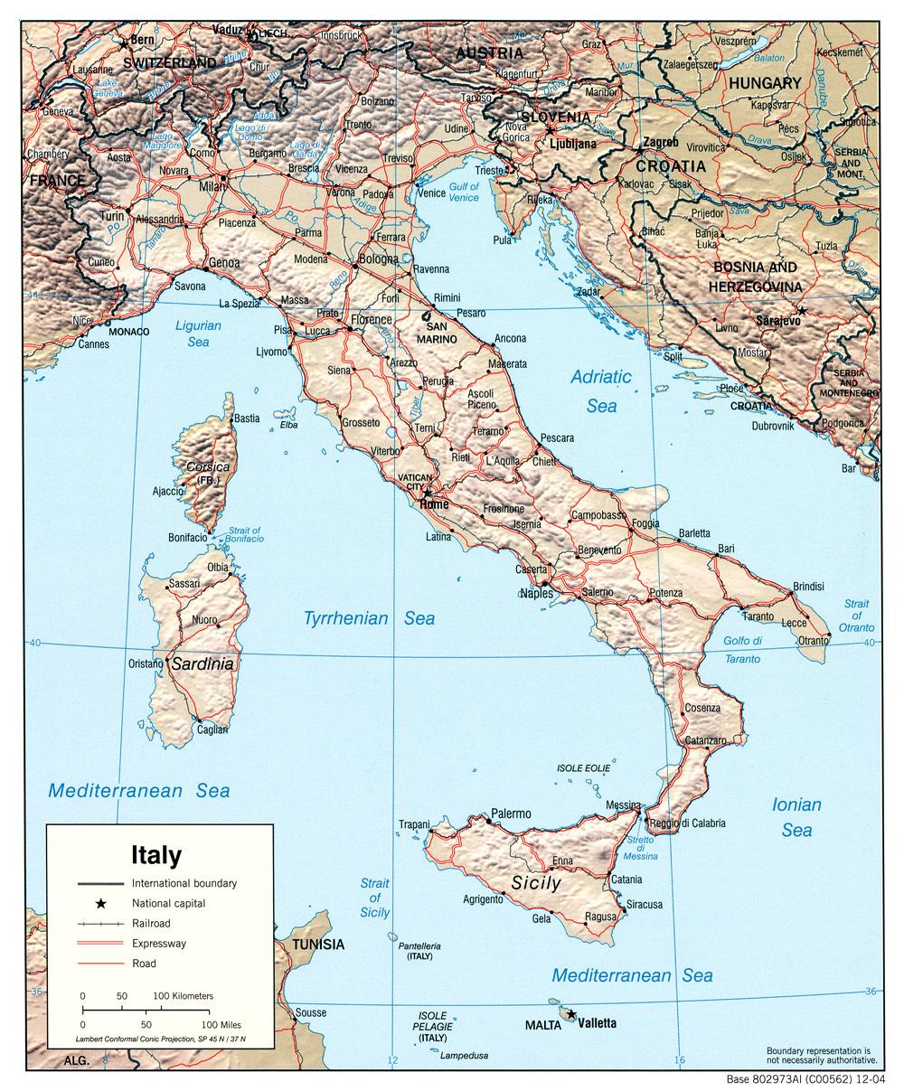 Mapa de Relieve Sombreado de Italia
