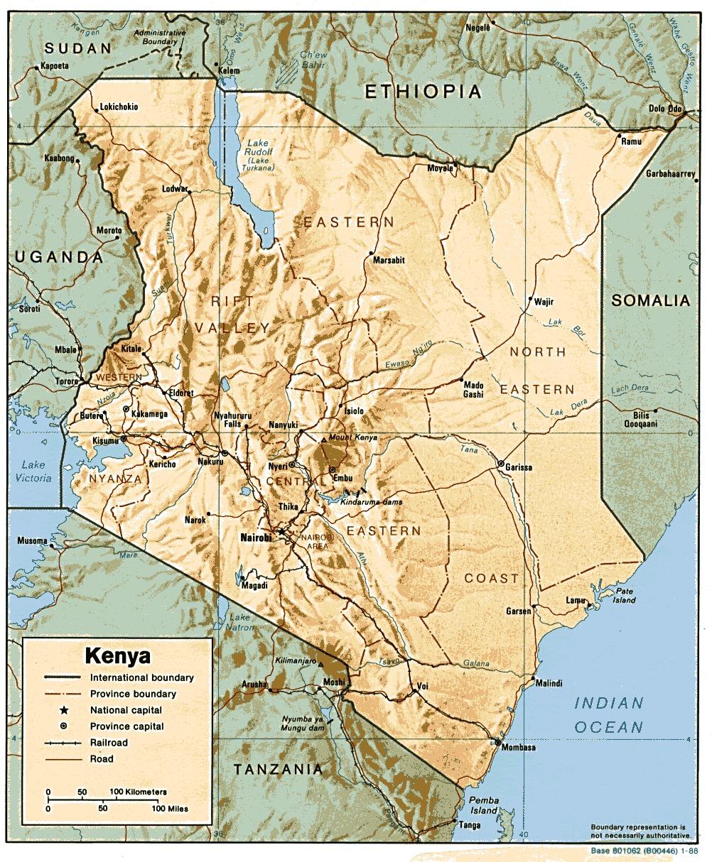 Mapa de Relieve Sombreado de Kenia