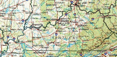 Kentucky Shaded Relief Map, United States