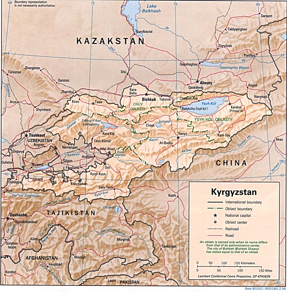 Kyrgyzstan Shaded Relief Map