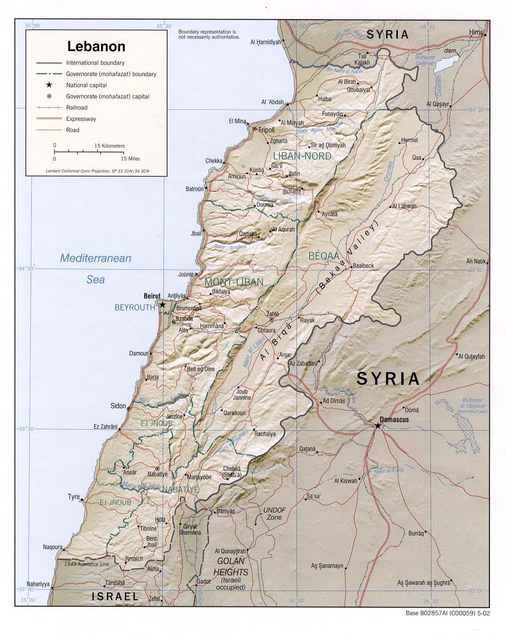 Mapa de Relieve Sombreado de Líbano
