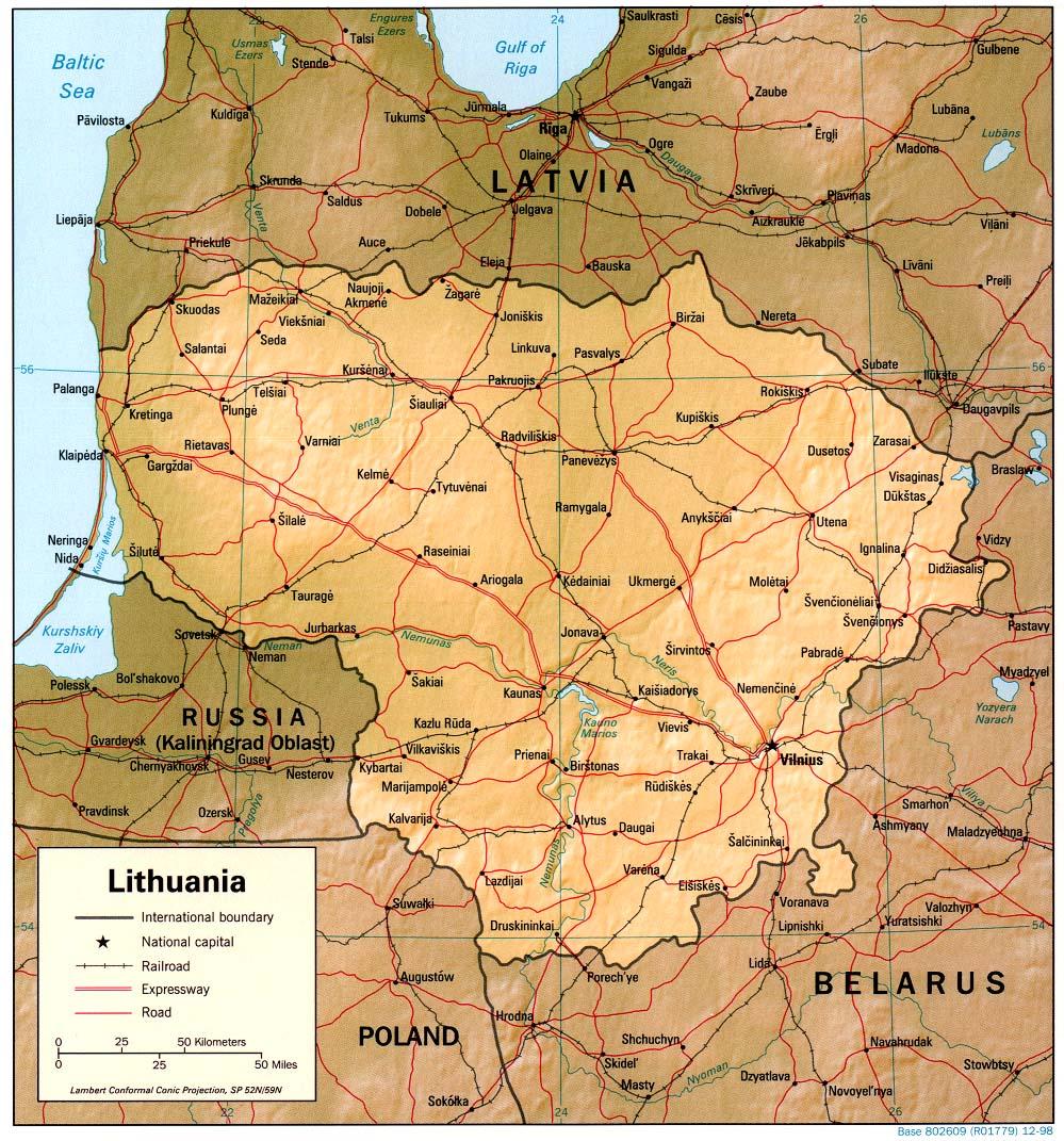 Mapa de Relieve Sombreado de Lituania