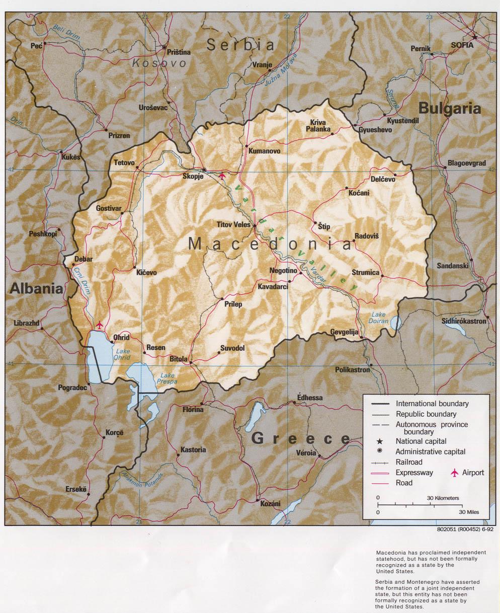 Mapa de Relieve Sombreado de Macedonia