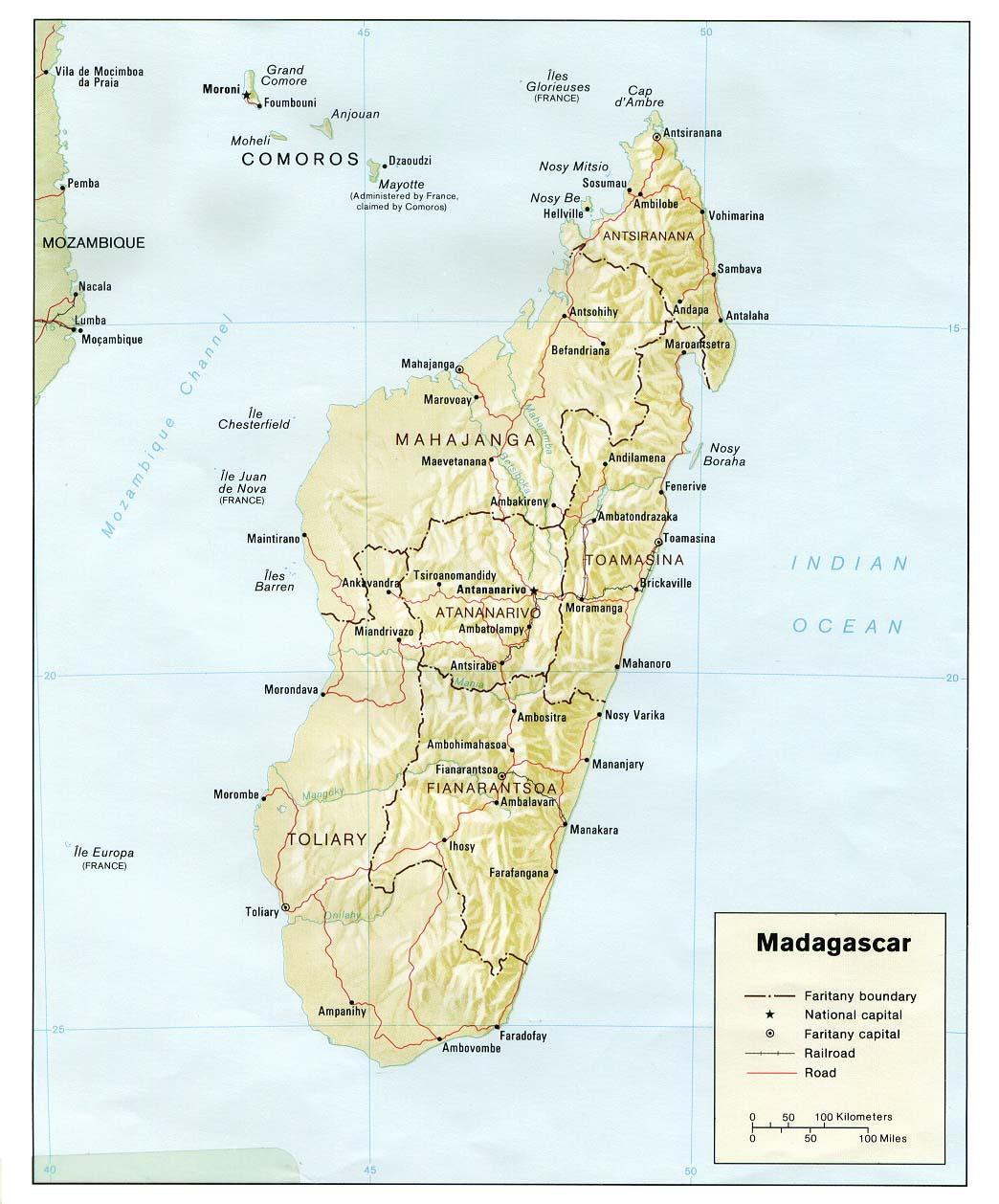 Mapa de Relieve Sombreado de Madagascar