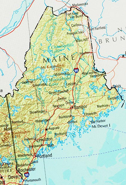 Maine Shaded Relief Map, United States