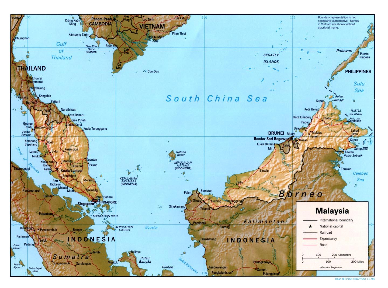 Mapa de Relieve Sombreado de Malasia