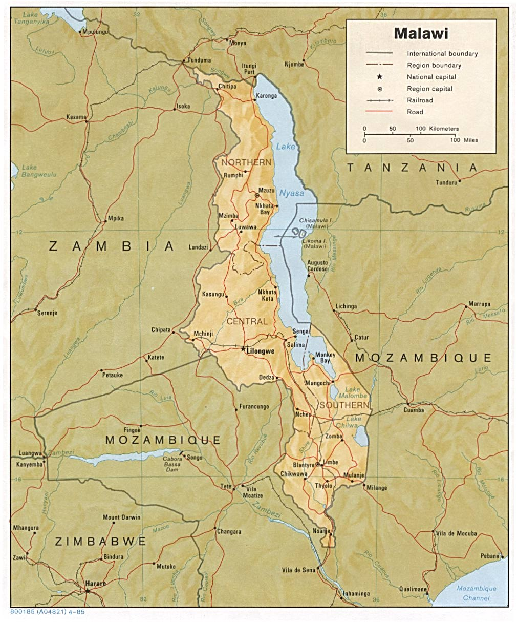Mapa de Relieve Sombreado de Malawi