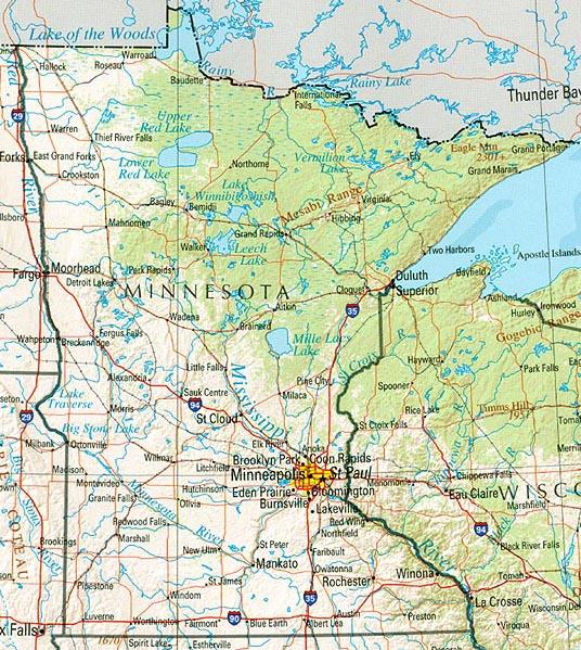 Mapa de Relieve Sombreado de Minnesota, Estados Unidos