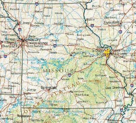 Mapa de Relieve Sombreado de Missouri, Estados Unidos