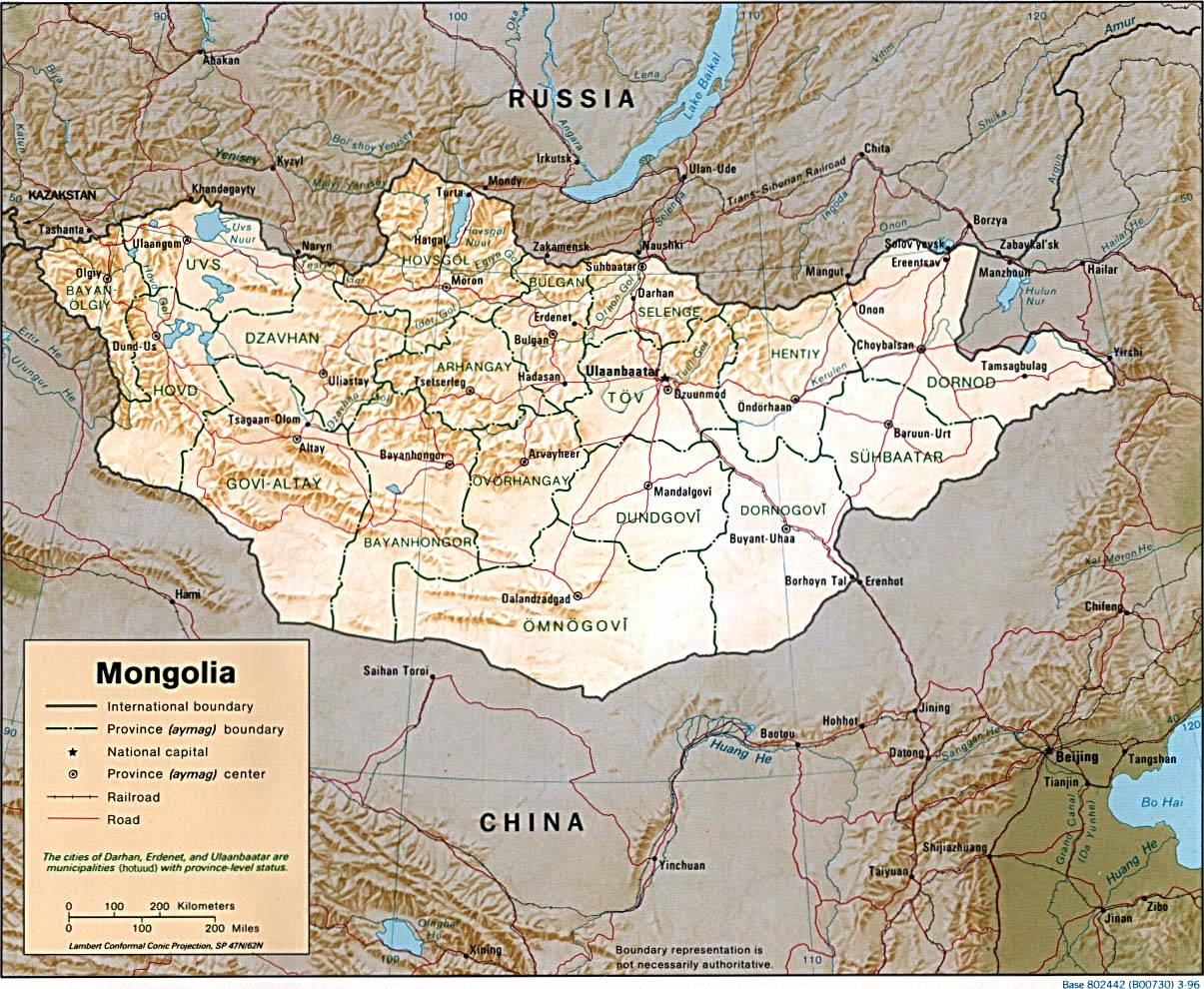 Mapa de Relieve Sombreado de Mongolia