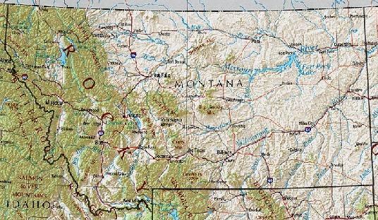 Mapa de Relieve Sombreado de Montana, Estados Unidos