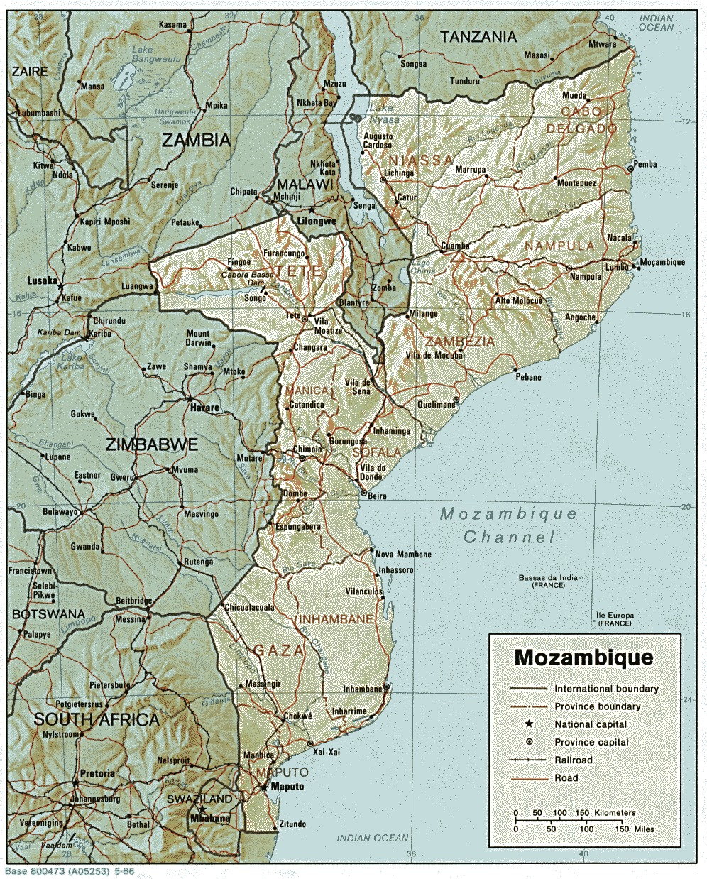Mozambique Shaded Relief Map