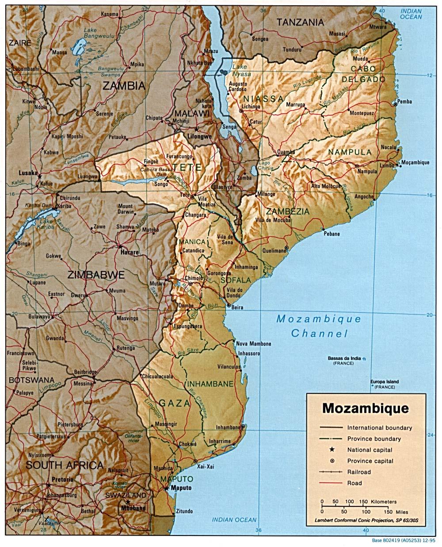 Mapa de Relieve Sombreado de Mozambique