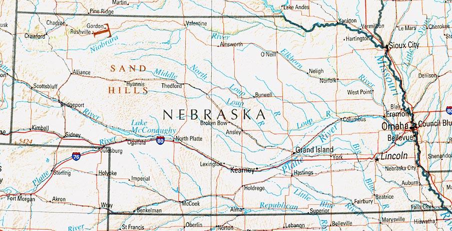 Mapa de Relieve Sombreado de Nebraska, Estados Unidos