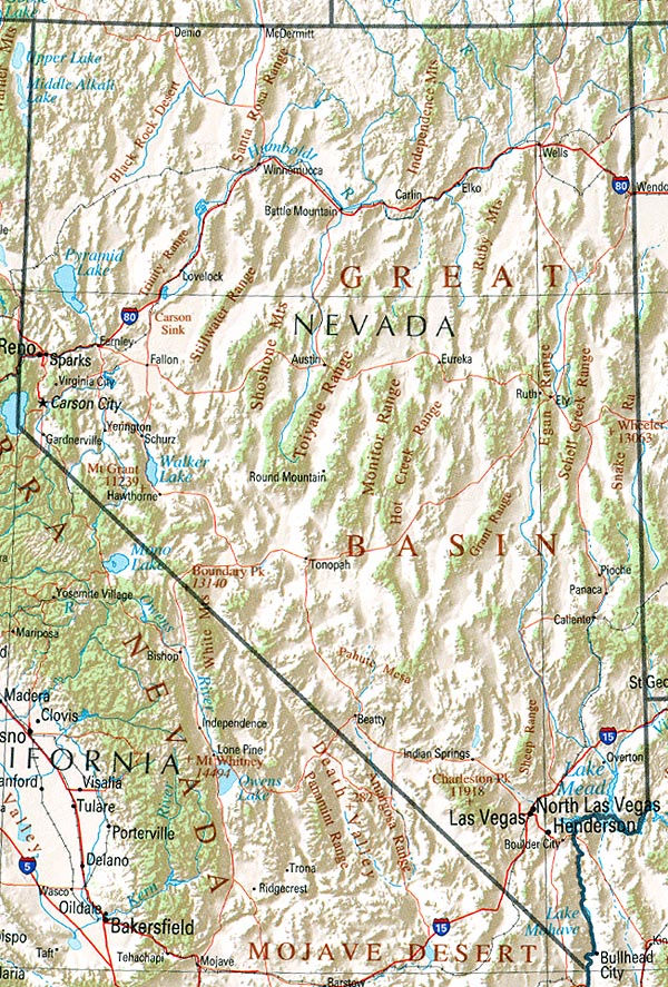 Nevada Shaded Relief Map, United States