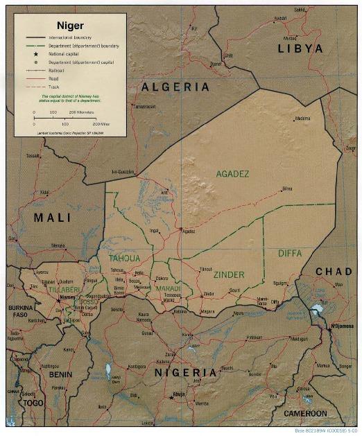 Mapa de Relieve Sombreado de Níger