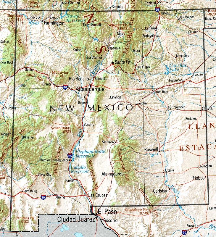 Mapa de Relieve Sombreado de Nuevo México, Estados Unidos
