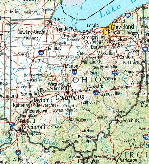 Mapa de Relieve Sombreado de Ohio, Estados Unidos
