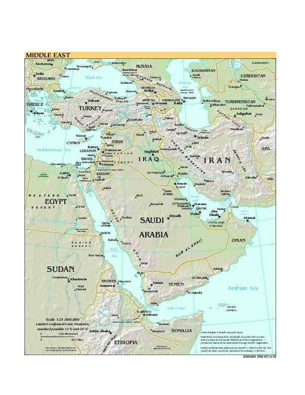 Mapa de Relieve Sombreado de Oriente Medio