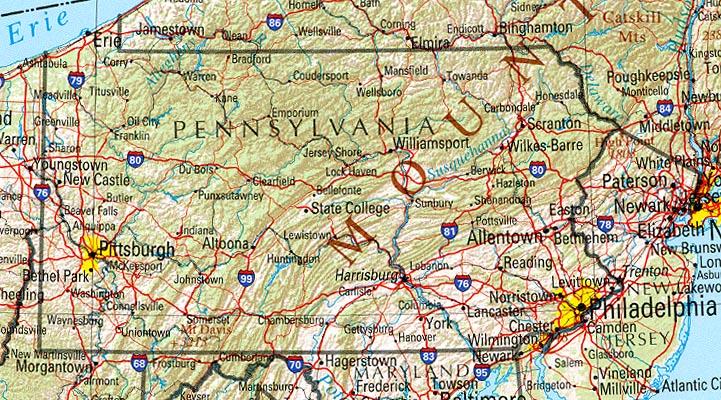 Mapa de Relieve Sombreado de Pensilvania, Estados Unidos