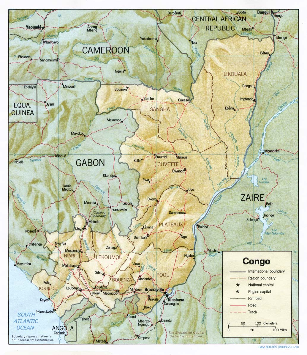 Republic of the Congo Shaded Relief Map