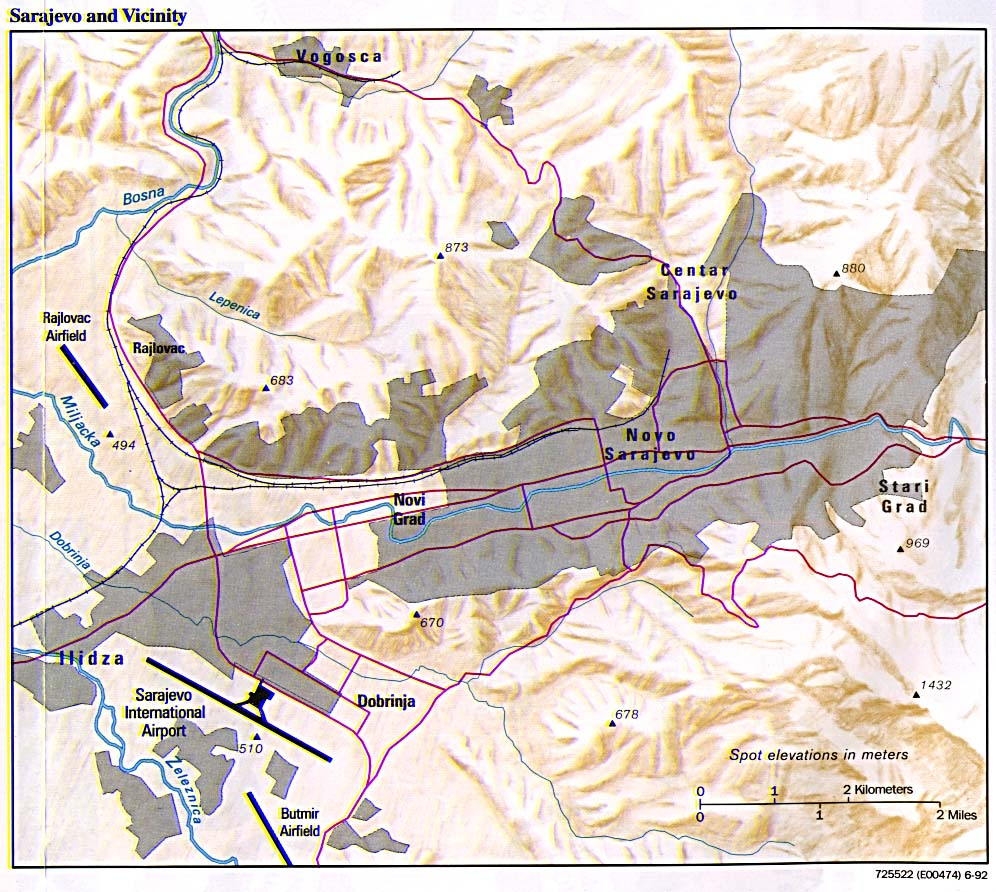 Mapa de Relieve Sombreado de Sarajevo y Cercanías, Bosnia y Herzegovina