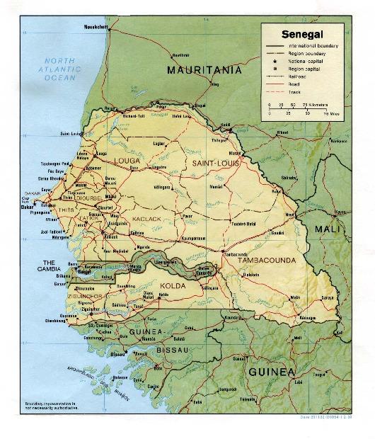 Mapa de Relieve Sombreado de Senegal