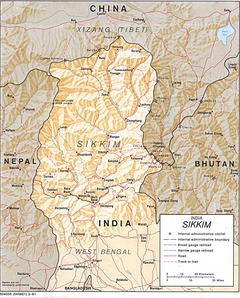 Sikkim Shaded Relief Map, India