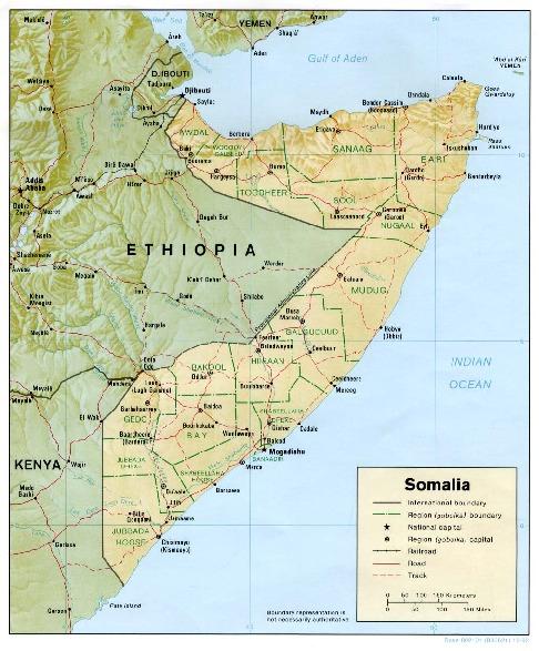Mapa de Relieve Sombreado de Somalia
