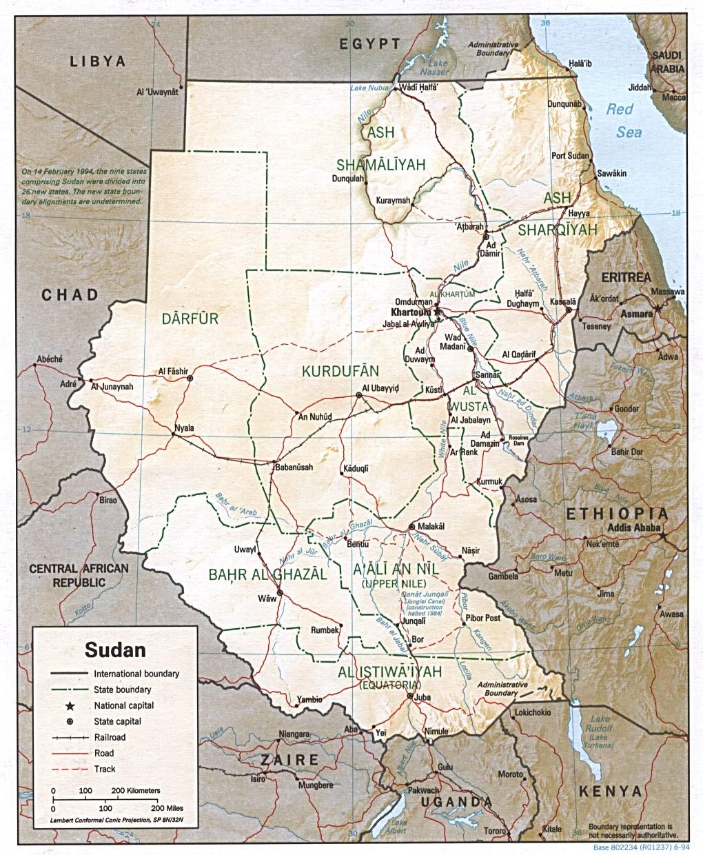 Mapa de Relieve Sombreado de Sudán