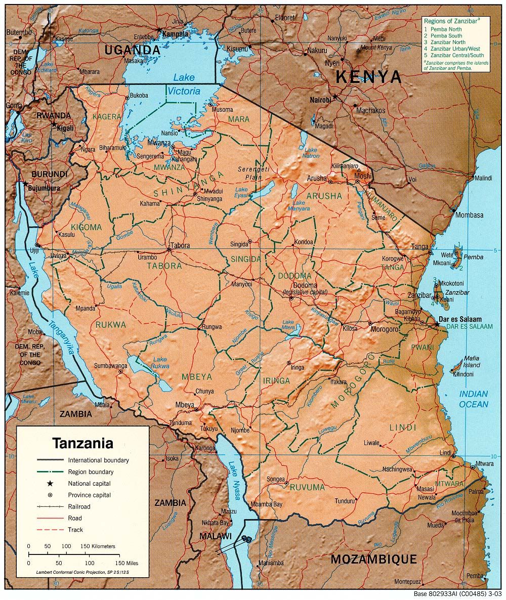 Tanzania Shaded Relief Map