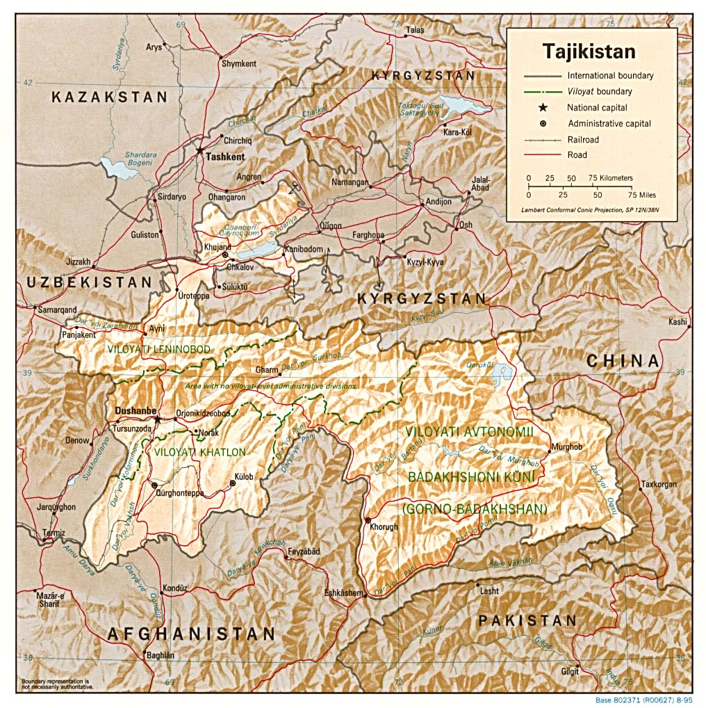 Tajikistan Shaded Relief Map