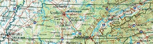 Mapa de Relieve Sombreado de Tennessee, Estados Unidos