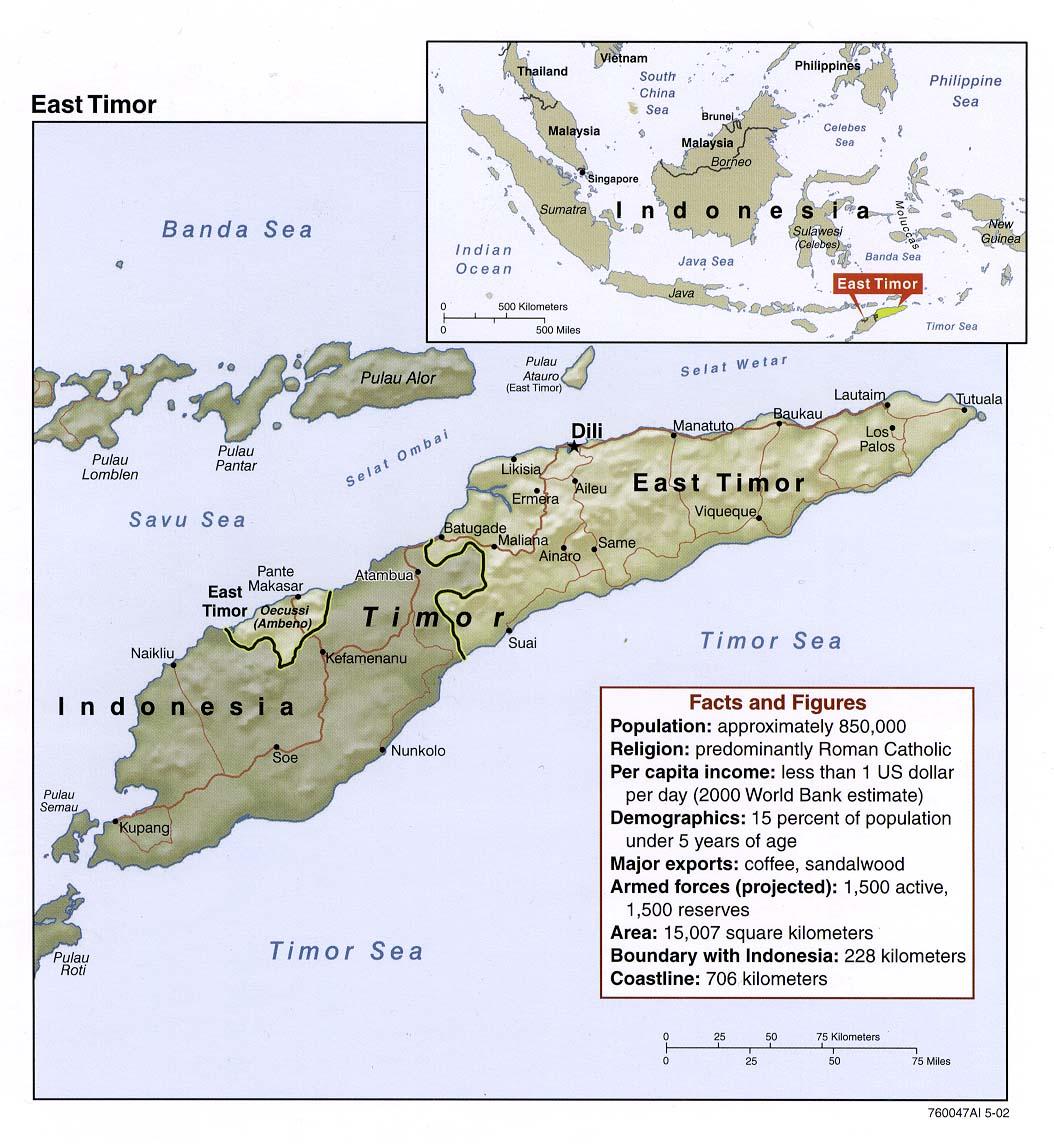 Mapa de Relieve Sombreado de Timor Oriental