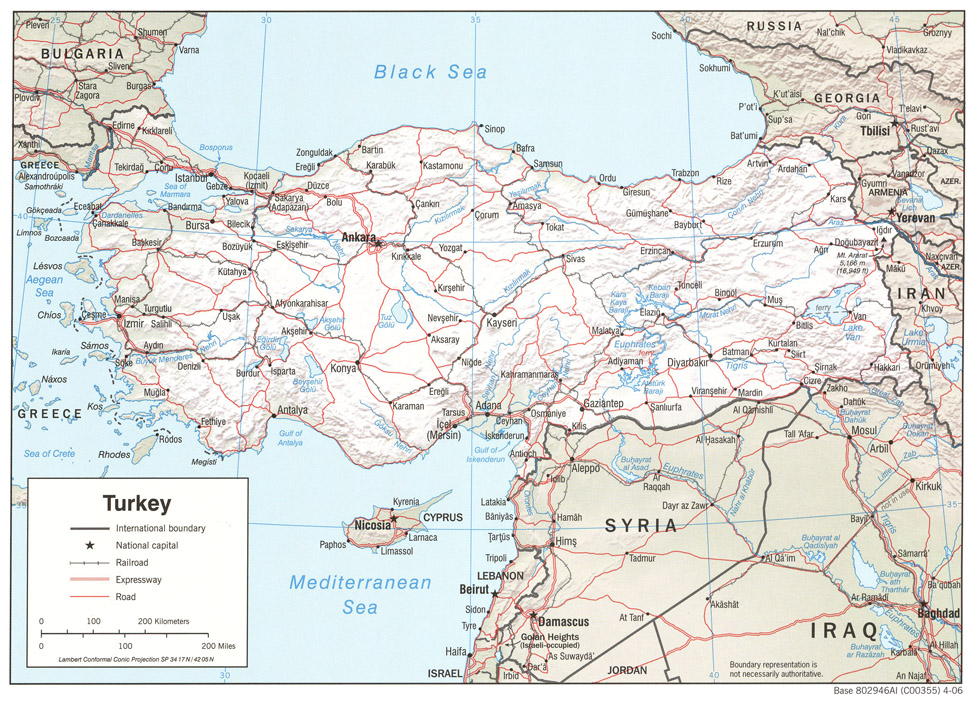 Turkey Shaded Relief Map