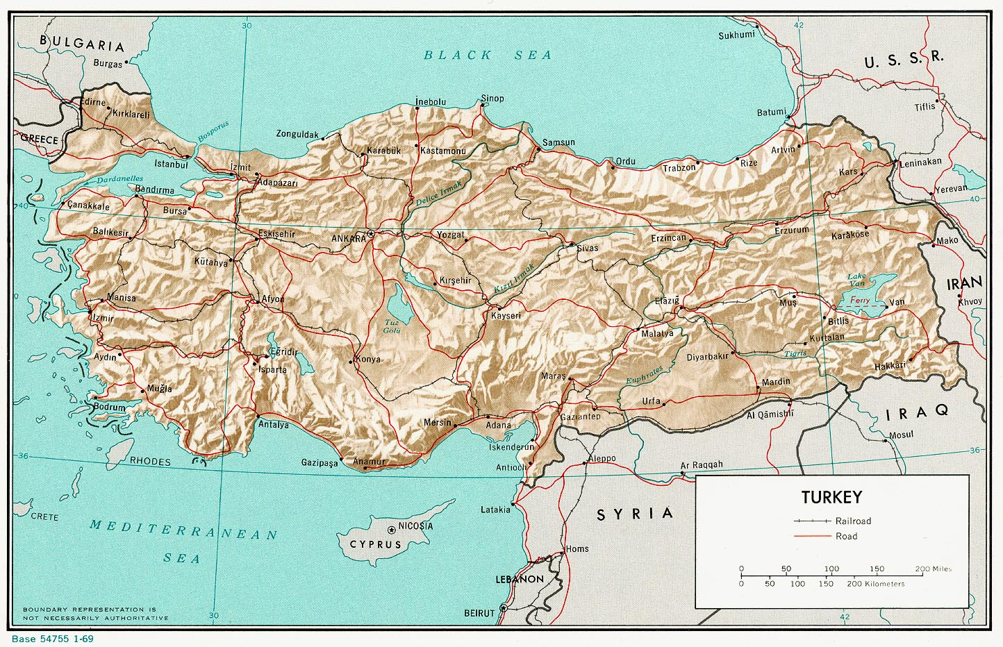 Mapa de Relieve Sombreado de Turquía