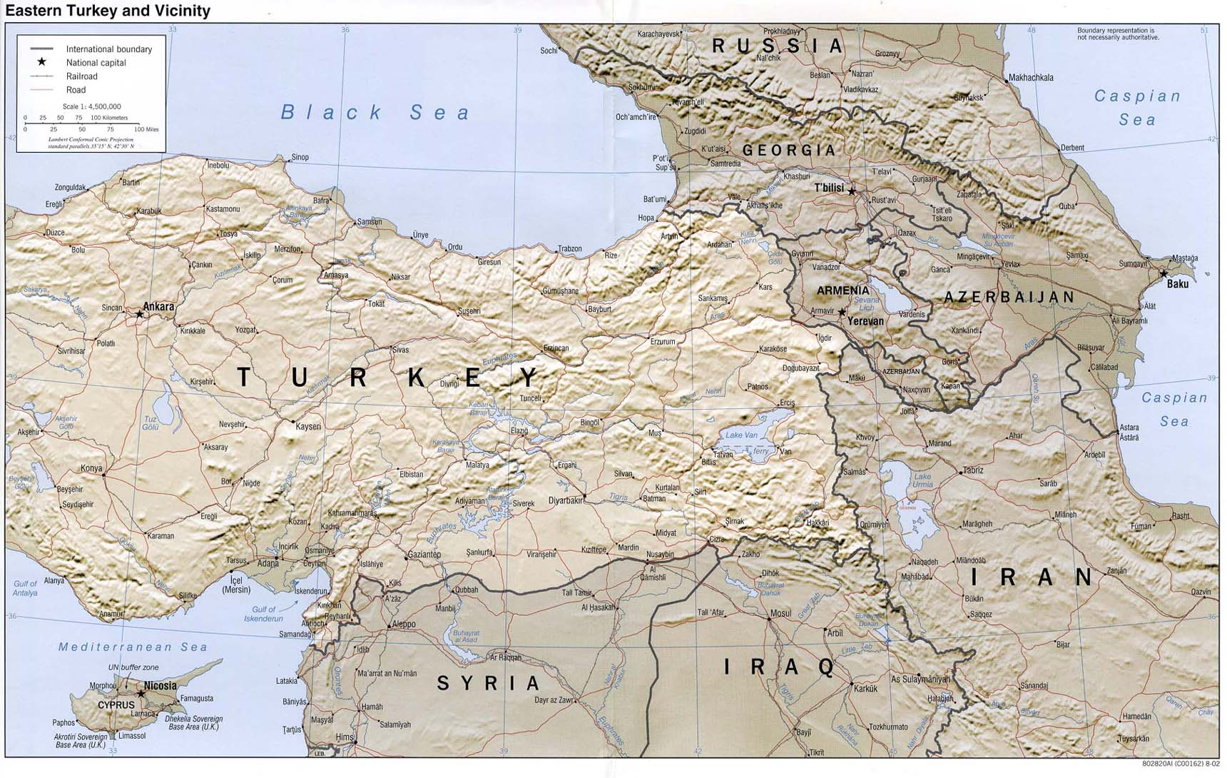Eastern Turkey and Vicinity Shaded Relief Map