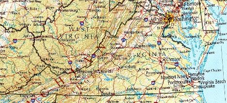 Mapa de Relieve Sombreado de Virginia, Estados Unidos