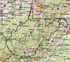 West Virginia Shaded Relief Map, United States