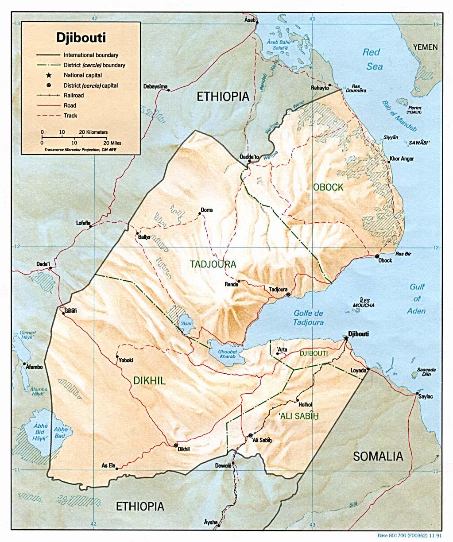 Mapa de Relieve Sombreado de Yibuti