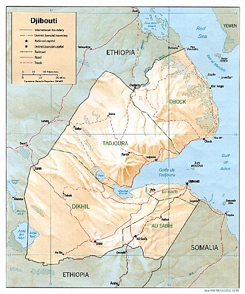 Djibouti Shaded Relief Map