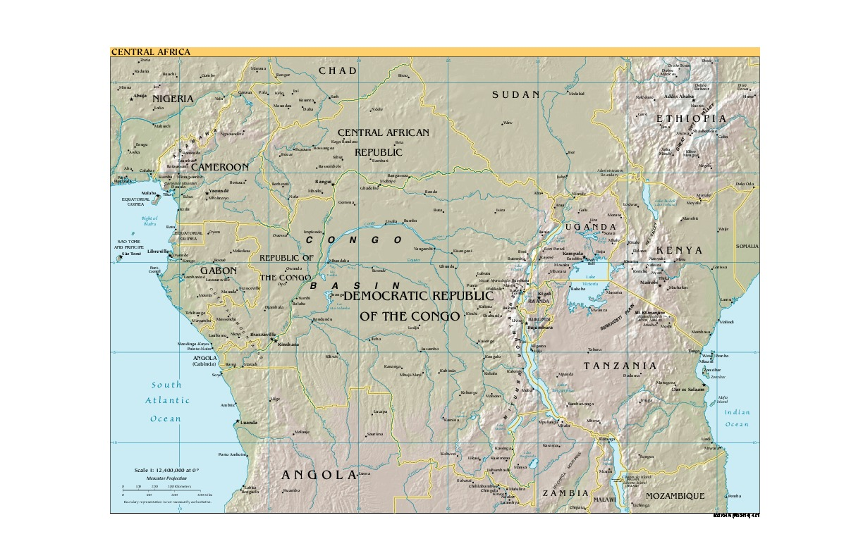 Central Africa Shaded Relief Map