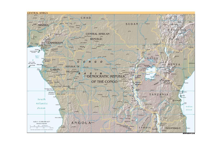 Mapa de Relieve Sombreado de África Central