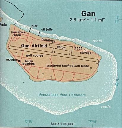 Mapa de Relieve Sombreado de la Isla de Gan, Maldivas