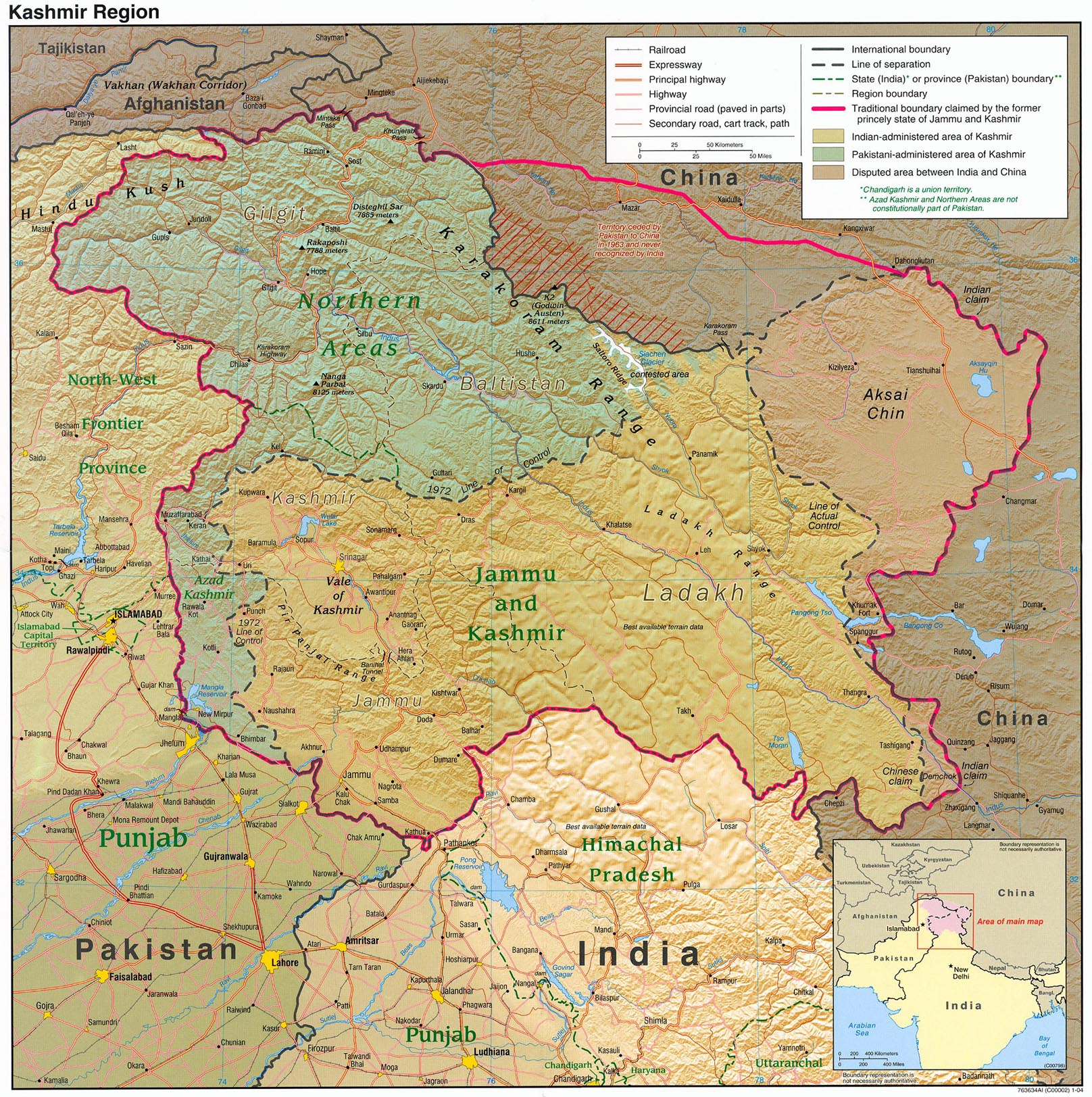 Kashmir Region Shaded Relief Map